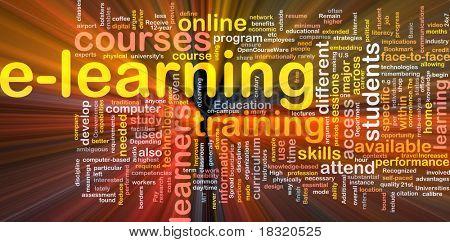 Ilustração de wordcloud de conceito de fundo de luz brilhante de e-learning
