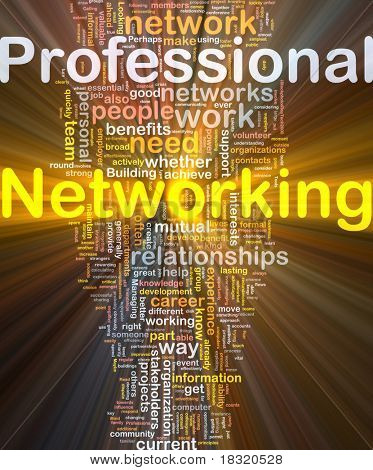 Background concept wordcloud illustration of professional networking glowing light