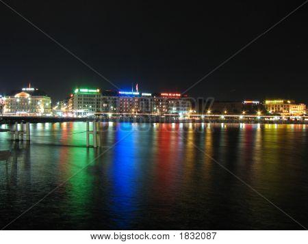 Switzerland Cityscape At Night On Geneva Lake 2