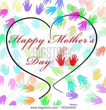 Happy mothers day written inside a heart and a background full of hands of different colors