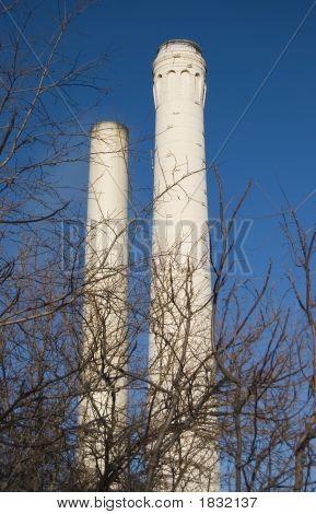 Smoke Stacks With Trees