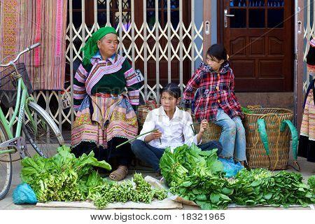 Hmong flor gente de Vietnam