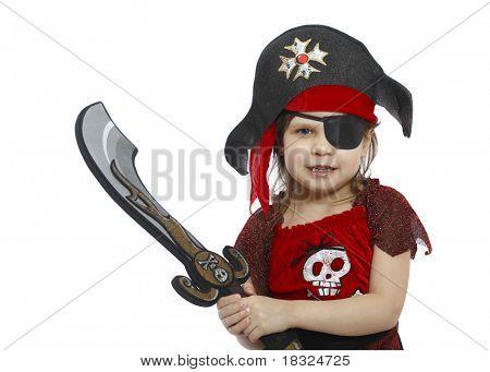 schöne kleine Mädchen in ein Piraten-Kostüm isoliert