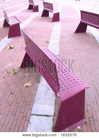 Pink Hole-Punched Steel Benches