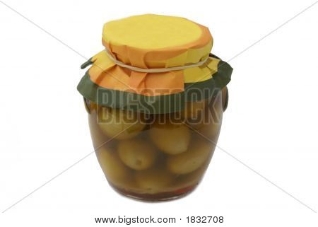 Green Olives In Extra Virgin Olive Oil In A Glass Jar