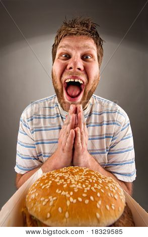Man Praying For Fast Food