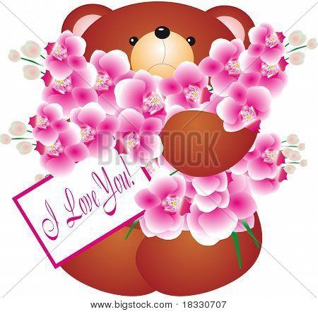 Bear holding Flowers. Vector Illustration.