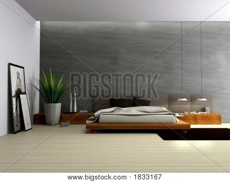 Interior de renderizado 3D dormitorio moderno