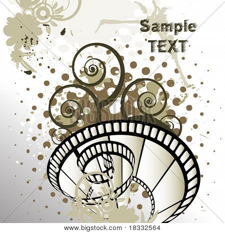 Abstract background with curved photographic film