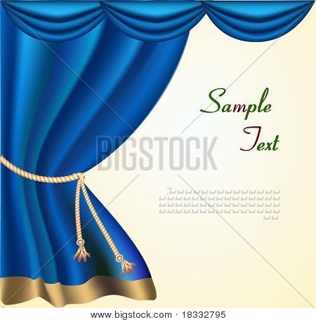 The elegant theater curtain with gold edging. Vector
