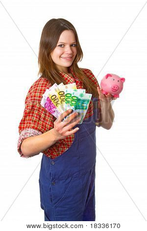 Craftswoman With Euro Banknotes