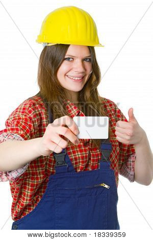 Young Friendly Craftswoman With Businesscard
