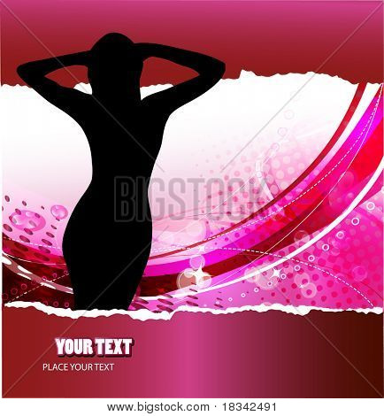 Grunge fragmentary paper with womans silhuette and place for text