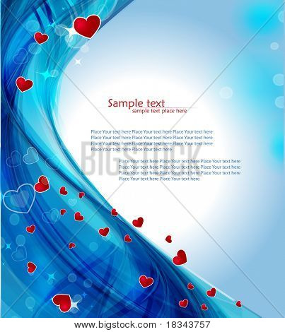 Blue heart background with glowing effect.Vector