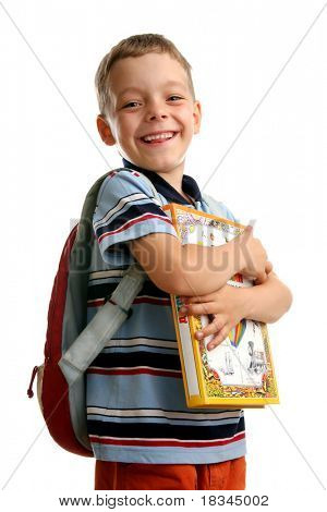 Schoolboy with books and backpack 2