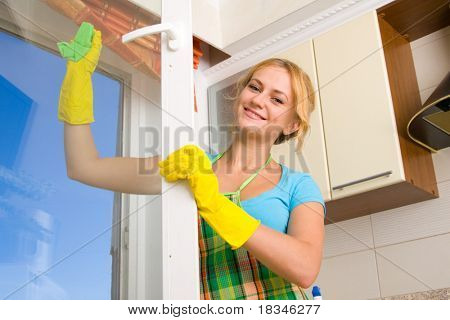 Women cleaning a window 3