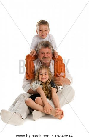 Happiness grandfather with two grandsons on the white background