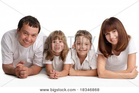 Happiness family on the white background