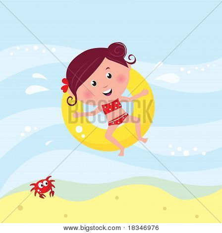 Illustration Of Cute Smiling Girl Swimming In The Sea Near Beach.