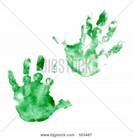 Painted Hands Green