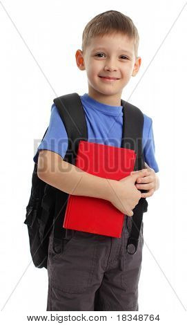 Schoolboy with backpack isolated on white