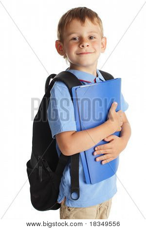 Happy schoolchild isolated on white