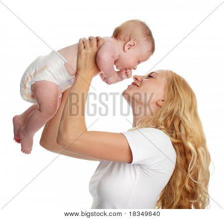 Mutter mit Baby, isoliert auf weiss