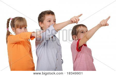 Happy children showing a finger in the corner