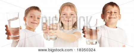 Children with a water glass isolated on white