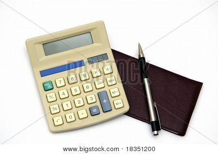 A check book and Calculator with a pen, isolated against a white background