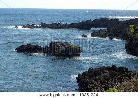 A rugged coast line on a bright summer day