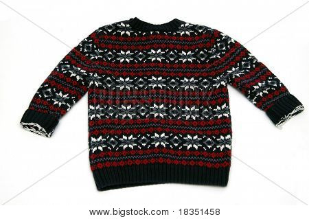 A beautifully woven sweater isolated against a white background