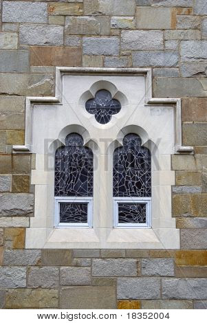 Close up shot of an old church window