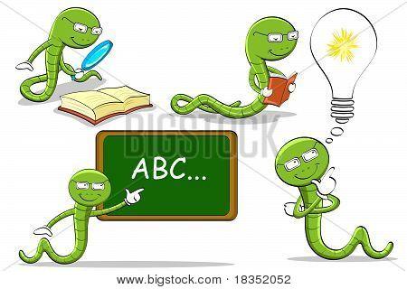 bookworm doing different activities