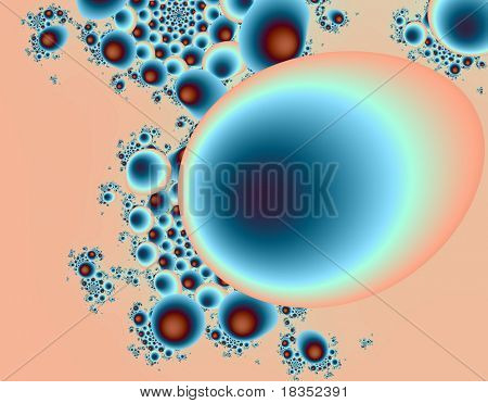 Fractal rendition of an oval shape, eggs or bubbles