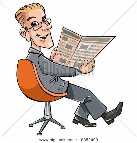 Businessman reading the newspaper.
