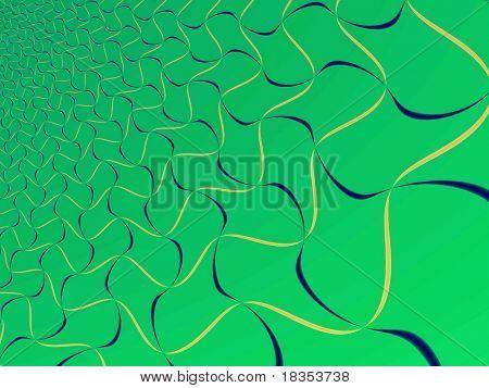 Fractal rendition of rubber bands on green background
