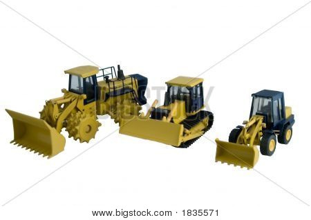 Models Of Compactor And 2 Small Bulldozers