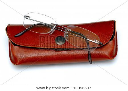 A pair of glasses and its case isolated on a white back ground