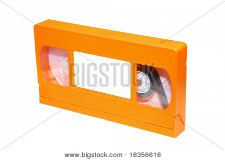 An orange VHS tape isolated on a white background