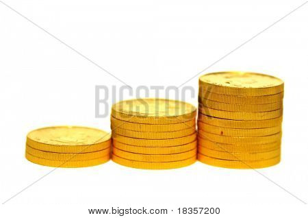 A rising stack of gold coins showing concept of profit