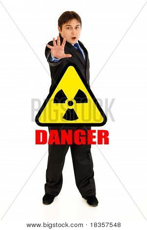 Concept-radiation hazard! Full length portrait of scared businessman isolated on white