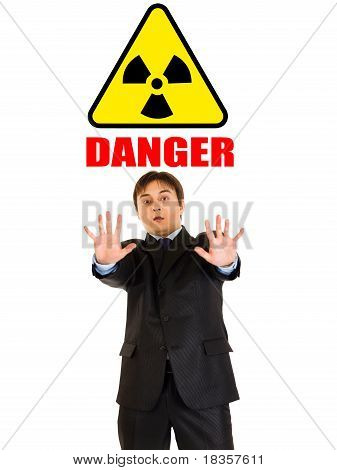 ?oncept-radiation danger! Portrait of scared businessman isolated on white