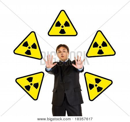 Concept-radiation danger! Portrait of scared businessman isolated on white