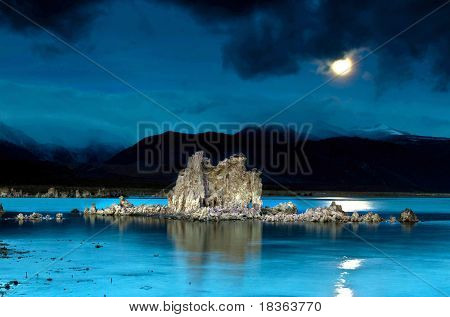 moon rising over tufas in mono lake California