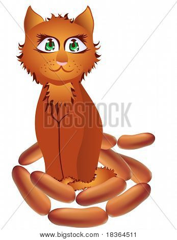 Red-haired cat with a string of sausages.