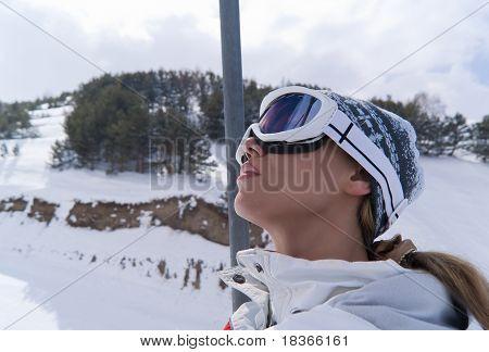 Portrait Of Beautiful Skier In Ski Lift