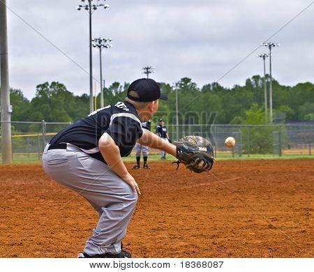 Boys Baseball Catching A Throw
