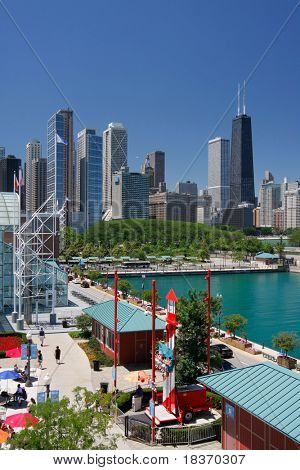 Corner of Chicago Navy Pier Park at Summer Time, John Hancock Tower at Background