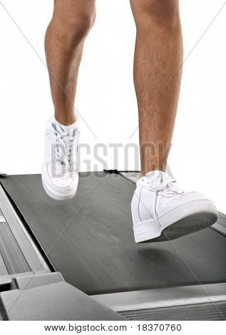 Closeup of man running on treadmill track isolated on white background